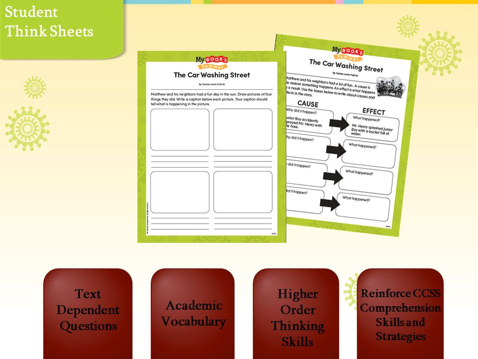 Text Dependent Questions Reinforce CCSS Comprehension Skills and Strategies Higher Order Thinking Skills Academic Vocabulary Student Think Sheets