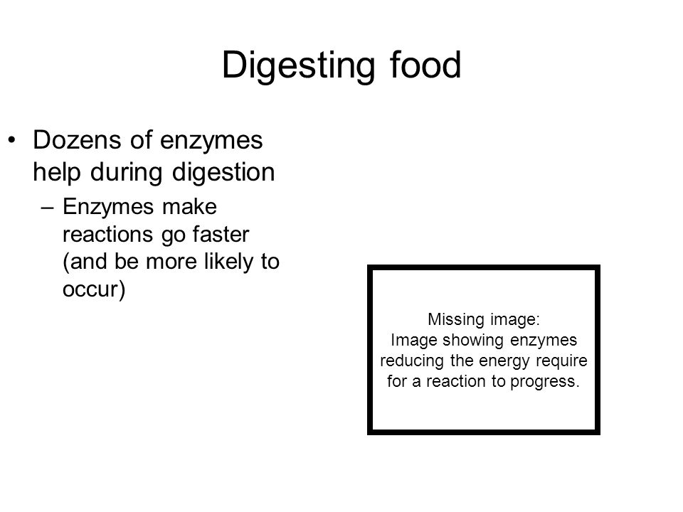 Digesting food Dozens of enzymes help during digestion –Enzymes make reactions go faster (and be more likely to occur) Missing image: Image showing en