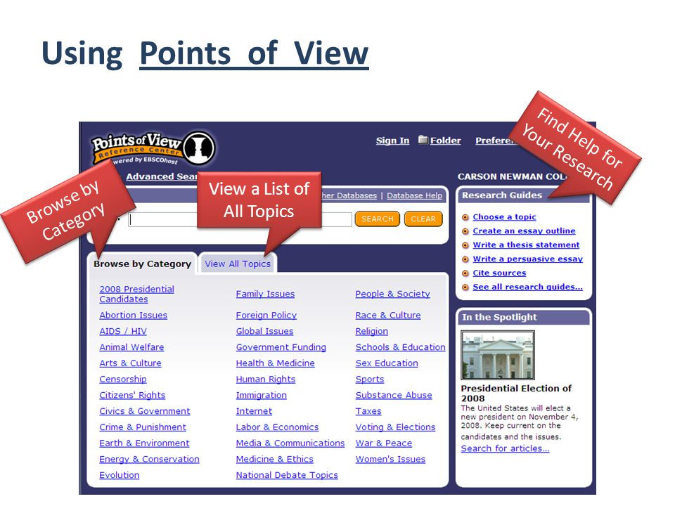 Using Points of View Browse by Category View a List of All Topics Find Help for Your Research
