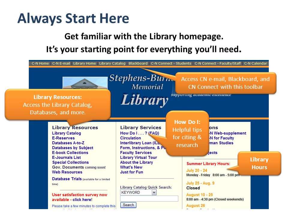Always Start Here Get familiar with the Library homepage.