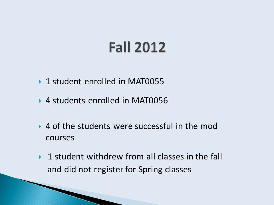  1 student enrolled in MAT0055  4 students enrolled in MAT0056  4 of the students were successful in the mod courses  1 student withdrew from all