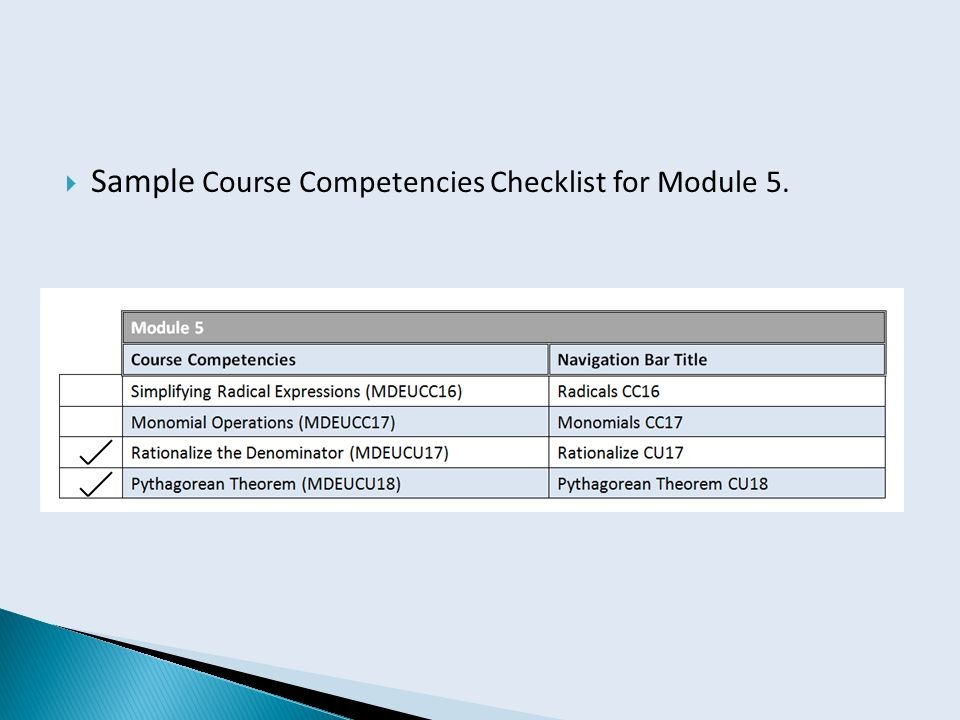  Sample Course Competencies Checklist for Module 5.