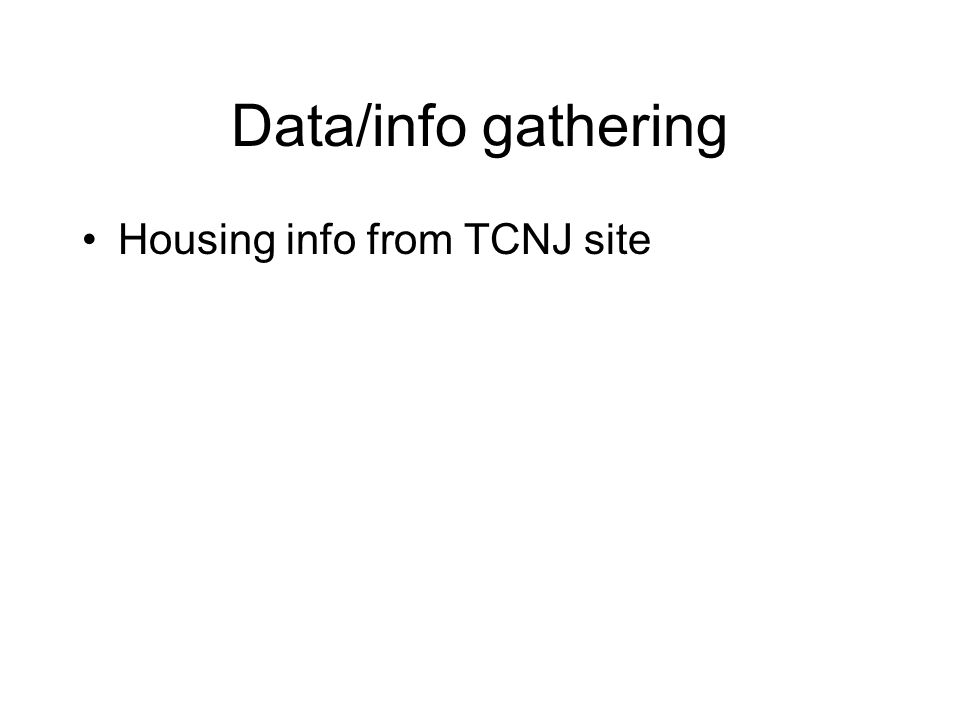 Data/info gathering Housing info from TCNJ site