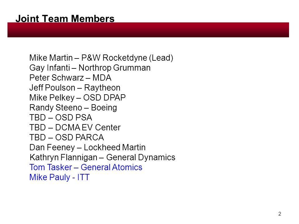 2 Joint Team Members Mike Martin – P&W Rocketdyne (Lead) Gay Infanti – Northrop Grumman Peter Schwarz – MDA Jeff Poulson – Raytheon Mike Pelkey – OSD