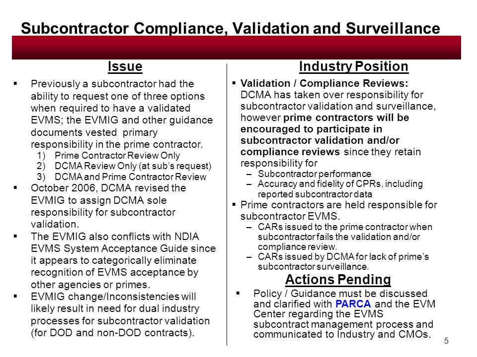 5 Issue  Previously a subcontractor had the ability to request one of three options when required to have a validated EVMS; the EVMIG and other guidance documents vested primary responsibility in the prime contractor.
