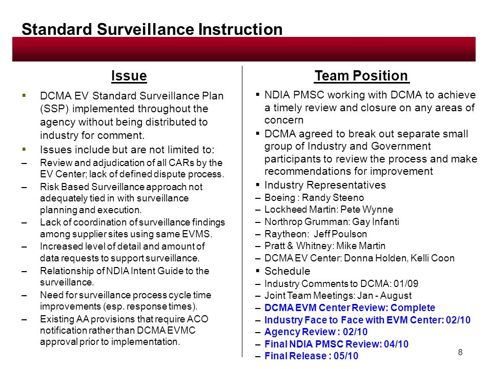 8 Issue Standard Surveillance Instruction  DCMA EV Standard Surveillance Plan (SSP) implemented throughout the agency without being distributed to industry for comment.