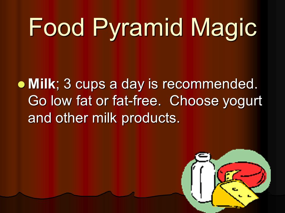 Food Pyramid Magic Milk; 3 cups a day is recommended. Go low fat or fat-free. Choose yogurt and other milk products. Milk; 3 cups a day is recommended
