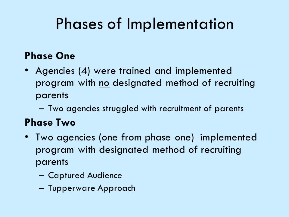 Phases of Implementation Phase One Agencies (4) were trained and implemented program with no designated method of recruiting parents –Two agencies str