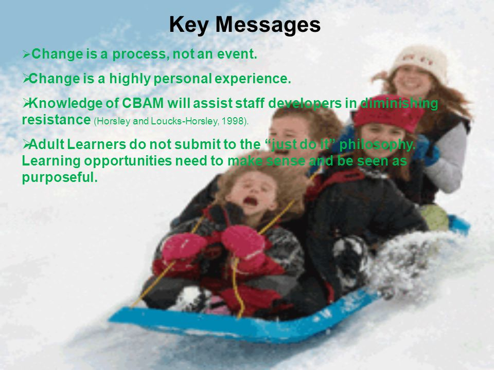 Key Messages  Change is a process, not an event.  Change is a highly personal experience.