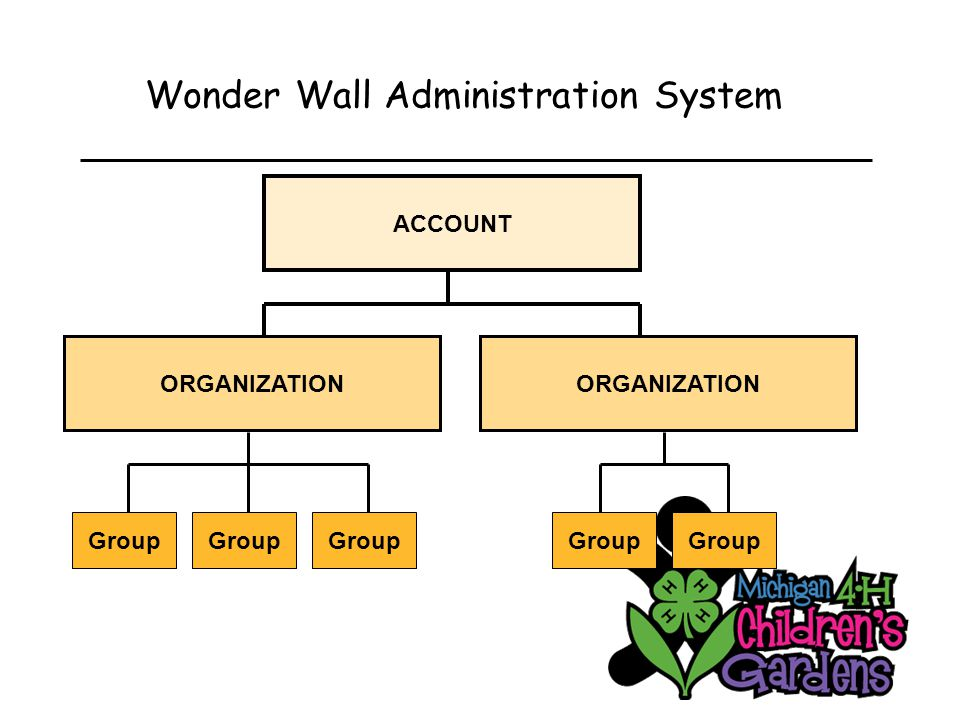 Wonder Wall Administration System ACCOUNT ORGANIZATION Group