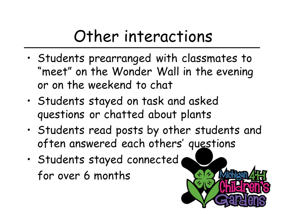 Other interactions Students prearranged with classmates to meet on the Wonder Wall in the evening or on the weekend to chat Students stayed on task and asked questions or chatted about plants Students read posts by other students and often answered each others' questions Students stayed connected for over 6 months
