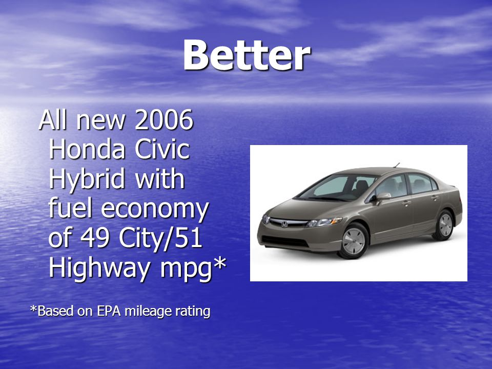 Better All new 2006 Honda Civic Hybrid with fuel economy of 49 City/51 Highway mpg* All new 2006 Honda Civic Hybrid with fuel economy of 49 City/51 Highway mpg* *Based on EPA mileage rating