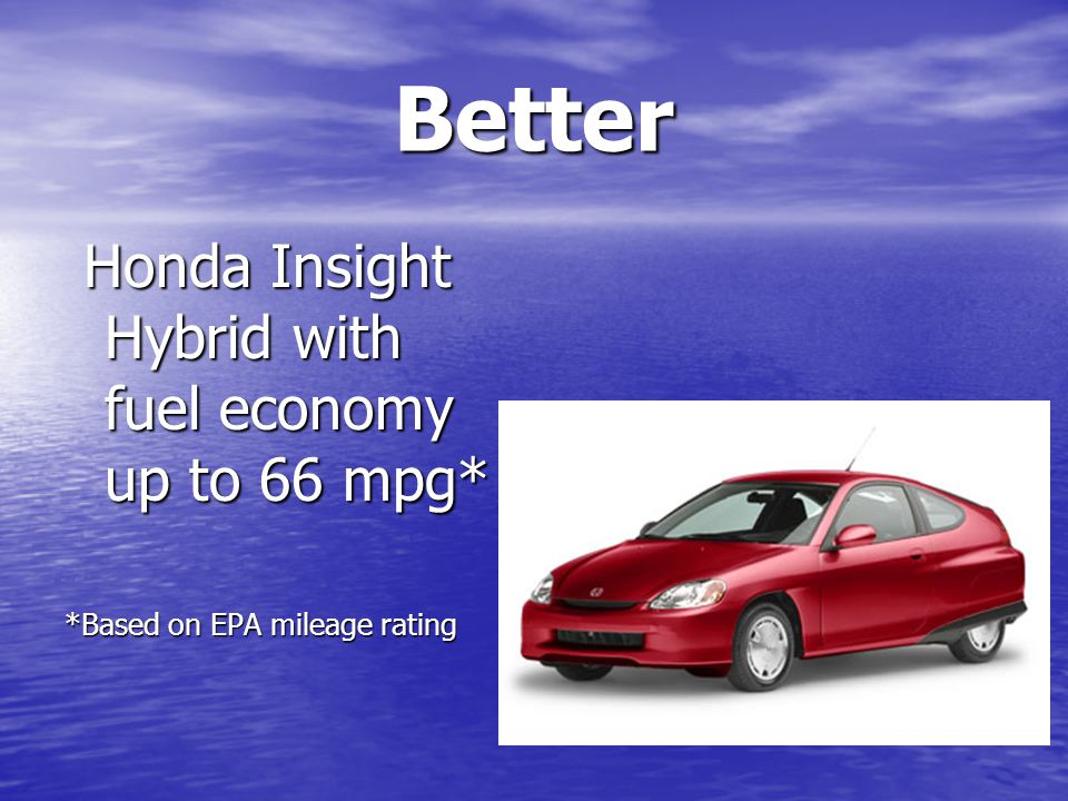 Better Honda Insight Hybrid with fuel economy up to 66 mpg* Honda Insight Hybrid with fuel economy up to 66 mpg* *Based on EPA mileage rating