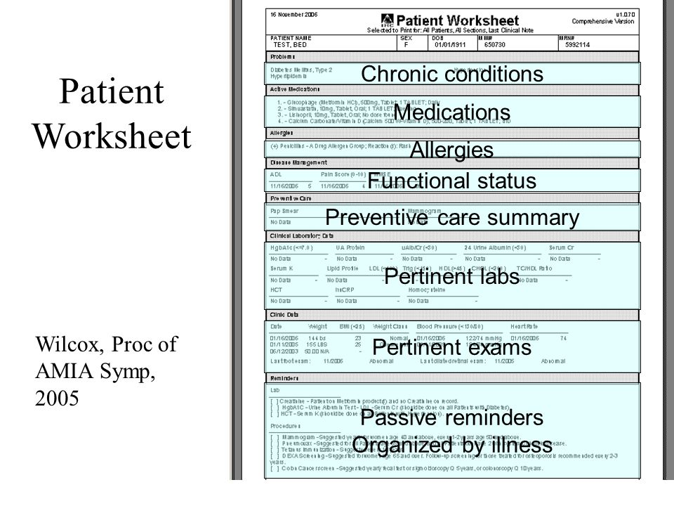 Patient Worksheet Pertinent labs Preventive care summary Medications Chronic conditions Pertinent exams Passive reminders Organized by illness Wilcox, Proc of AMIA Symp, 2005 Allergies Functional status