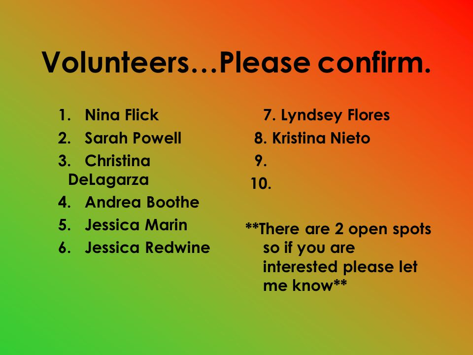 Volunteers…Please confirm. 1. Nina Flick 2. Sarah Powell 3.