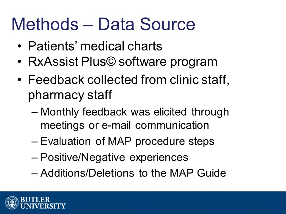 Methods – Data Source Patients' medical charts RxAssist Plus© software program Feedback collected from clinic staff, pharmacy staff –Monthly feedback