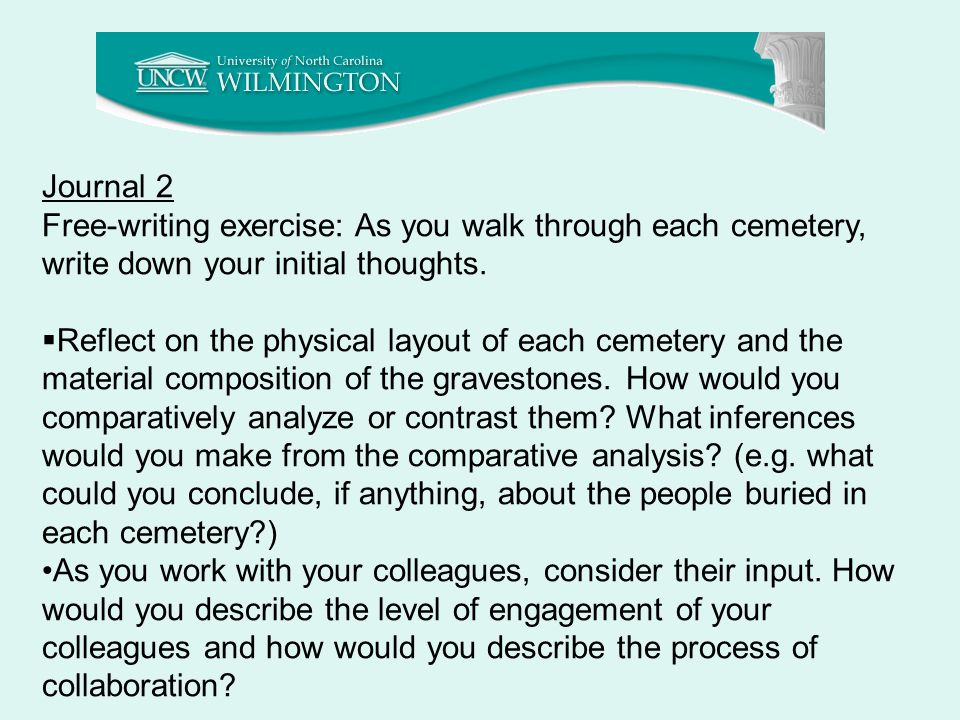 Journal 2 Free-writing exercise: As you walk through each cemetery, write down your initial thoughts.