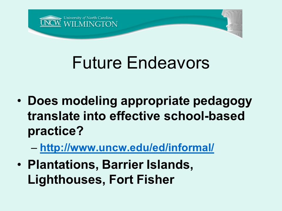 Future Endeavors Does modeling appropriate pedagogy translate into effective school-based practice.