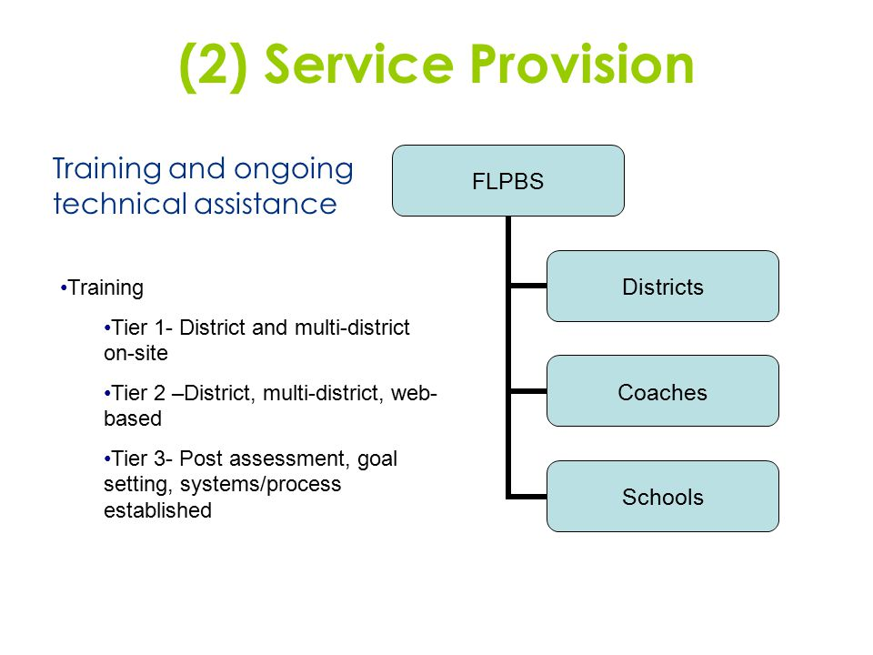 (2) Service Provision Training and ongoing technical assistance Training Tier 1- District and multi-district on-site Tier 2 –District, multi-district,