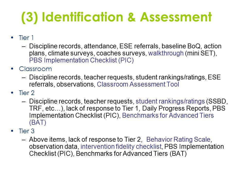 (3) Identification & Assessment Tier 1 –Discipline records, attendance, ESE referrals, baseline BoQ, action plans, climate surveys, coaches surveys, w