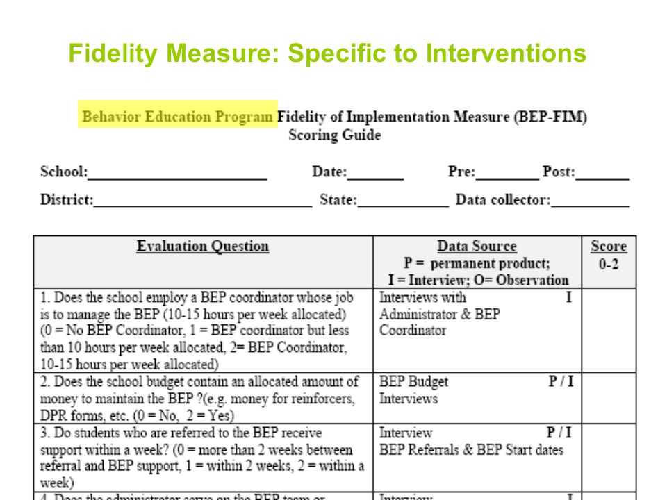 27 Fidelity Measure: Specific to Interventions