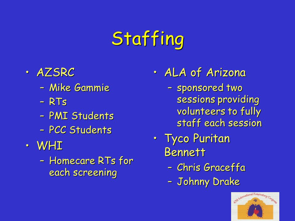 Staffing AZSRCAZSRC –Mike Gammie –RTs –PMI Students –PCC Students WHIWHI –Homecare RTs for each screening ALA of ArizonaALA of Arizona –sponsored two sessions providing volunteers to fully staff each session Tyco Puritan BennettTyco Puritan Bennett –Chris Graceffa –Johnny Drake
