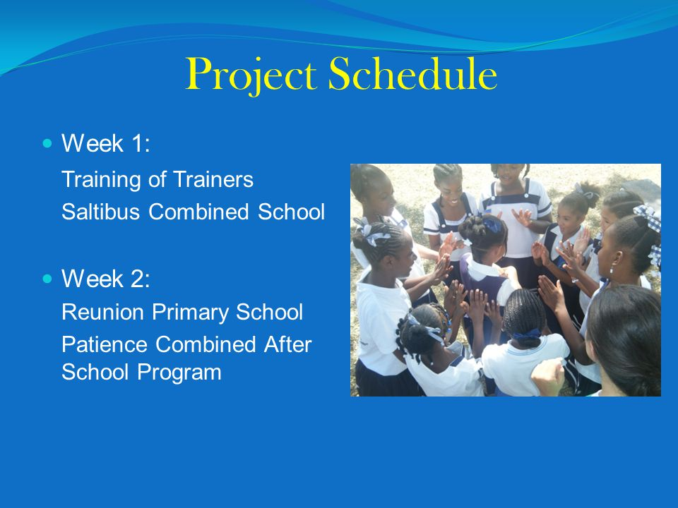 Project Schedule Week 1: Training of Trainers Saltibus Combined School Week 2: Reunion Primary School Patience Combined After School Program