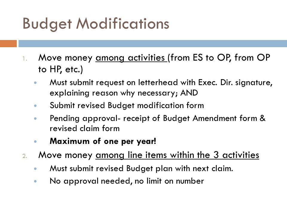 Budget Modifications 1.
