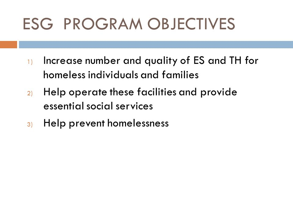 ESG PROGRAM OBJECTIVES 1) Increase number and quality of ES and TH for homeless individuals and families 2) Help operate these facilities and provide essential social services 3) Help prevent homelessness