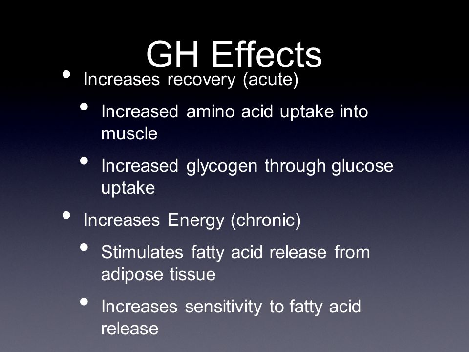 Increases recovery (acute) Increased amino acid uptake into muscle Increased glycogen through glucose uptake Increases Energy (chronic) Stimulates fatty acid release from adipose tissue Increases sensitivity to fatty acid release GH Effects