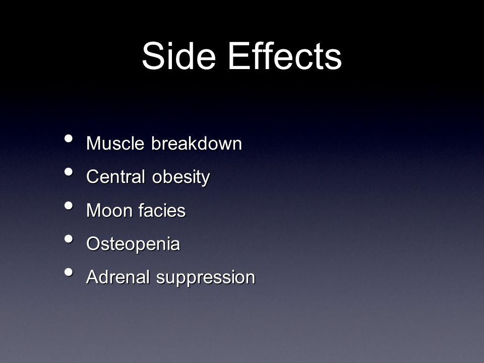 Muscle breakdown Muscle breakdown Central obesity Central obesity Moon facies Moon facies Osteopenia Osteopenia Adrenal suppression Adrenal suppression Side Effects