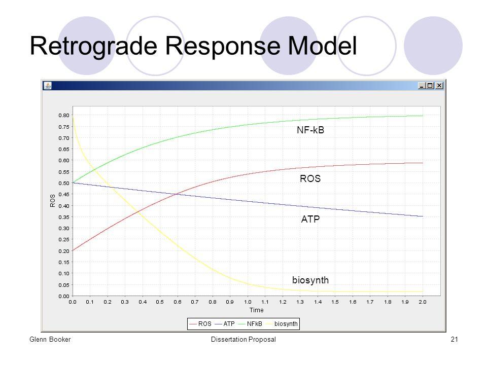 Glenn BookerDissertation Proposal21 Retrograde Response Model ROS ATP NF-kB biosynth