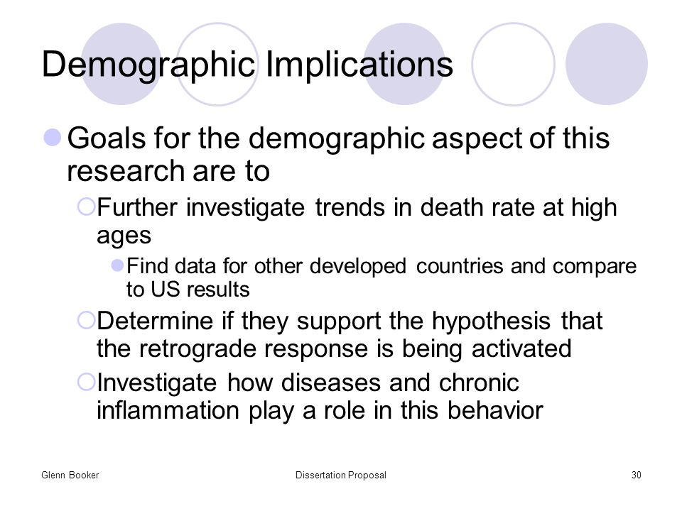 Glenn BookerDissertation Proposal30 Demographic Implications Goals for the demographic aspect of this research are to  Further investigate trends in death rate at high ages Find data for other developed countries and compare to US results  Determine if they support the hypothesis that the retrograde response is being activated  Investigate how diseases and chronic inflammation play a role in this behavior