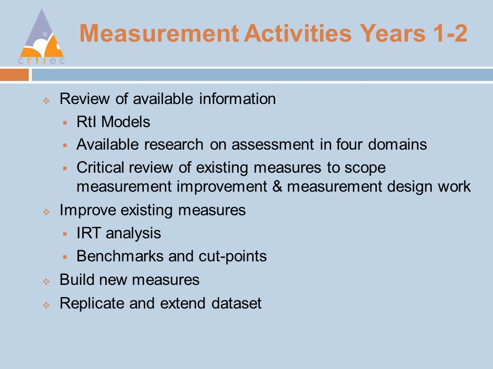 Measurement Activities Years 1-2  Review of available information  RtI Models  Available research on assessment in four domains  Critical review of existing measures to scope measurement improvement & measurement design work  Improve existing measures  IRT analysis  Benchmarks and cut-points  Build new measures  Replicate and extend dataset