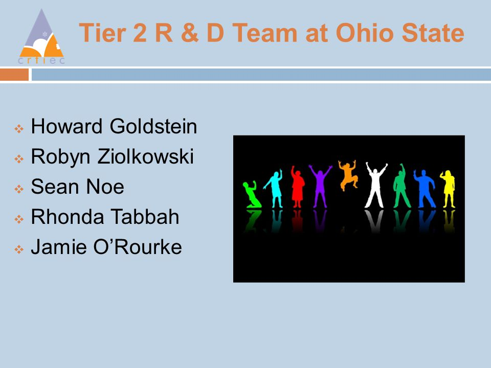 Tier 2 R & D Team at Ohio State  Howard Goldstein  Robyn Ziolkowski  Sean Noe  Rhonda Tabbah  Jamie O'Rourke