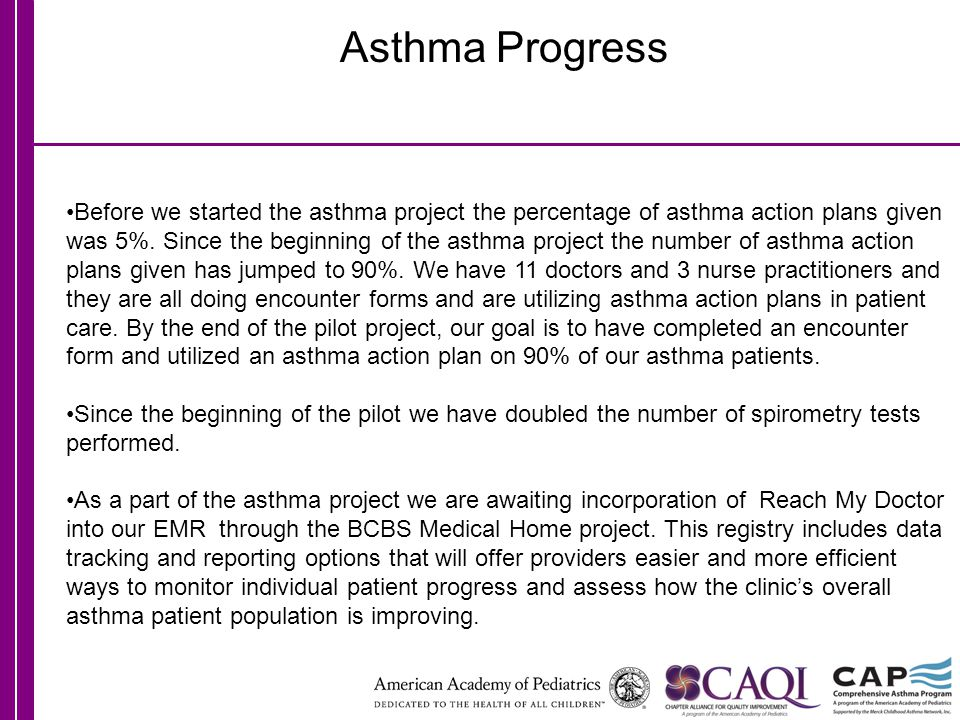Asthma Progress Before we started the asthma project the percentage of asthma action plans given was 5%.