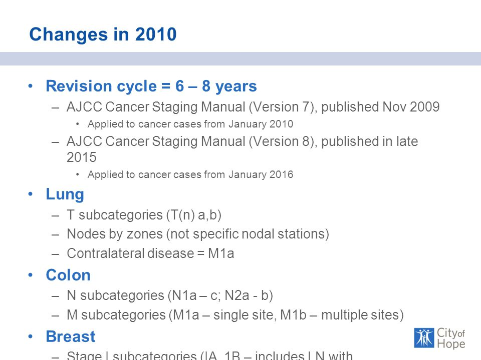 Changes in 2010 Revision cycle = 6 – 8 years –AJCC Cancer Staging Manual (Version 7), published Nov 2009 Applied to cancer cases from January 2010 –AJCC Cancer Staging Manual (Version 8), published in late 2015 Applied to cancer cases from January 2016 Lung –T subcategories (T(n) a,b) –Nodes by zones (not specific nodal stations) –Contralateral disease = M1a Colon –N subcategories (N1a – c; N2a - b) –M subcategories (M1a – single site, M1b – multiple sites) Breast –Stage I subcategories (IA, 1B – includes LN with micrometastases)