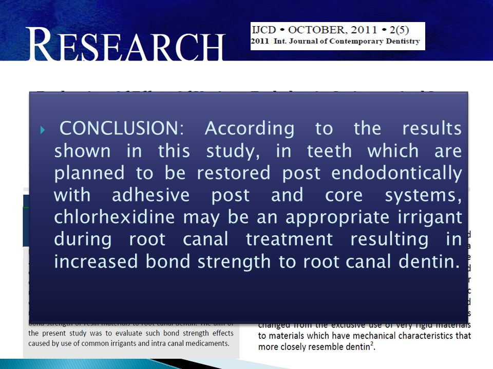  CONCLUSION: According to the results shown in this study, in teeth which are planned to be restored post endodontically with adhesive post and core