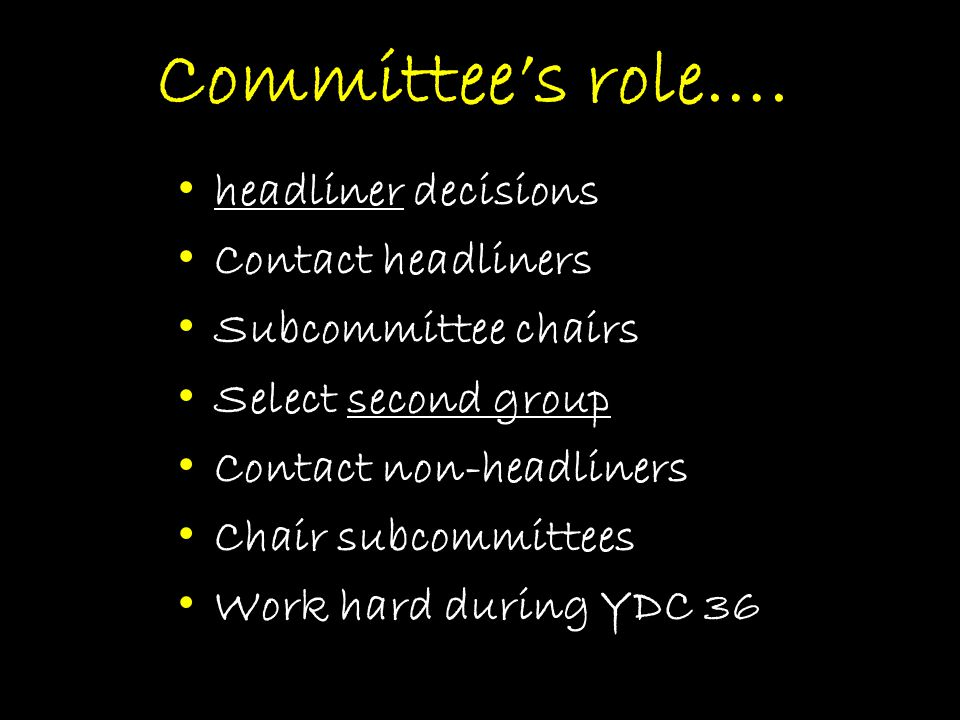 Committee's role….