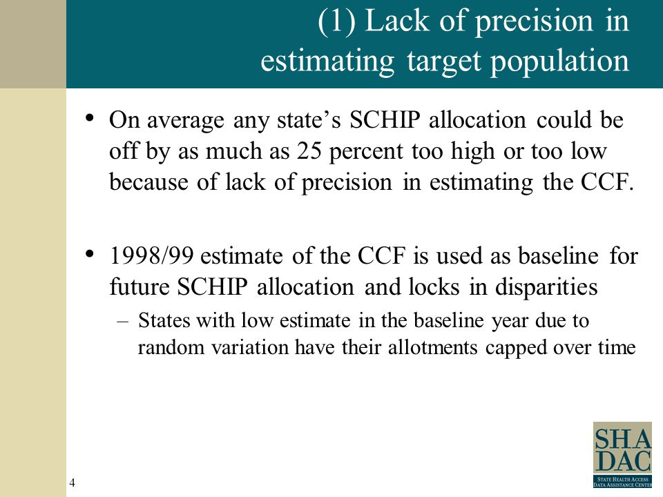 4 (1) Lack of precision in estimating target population On average any state's SCHIP allocation could be off by as much as 25 percent too high or too low because of lack of precision in estimating the CCF.