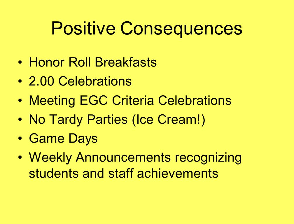 Positive Consequences Honor Roll Breakfasts 2.00 Celebrations Meeting EGC Criteria Celebrations No Tardy Parties (Ice Cream!) Game Days Weekly Announc