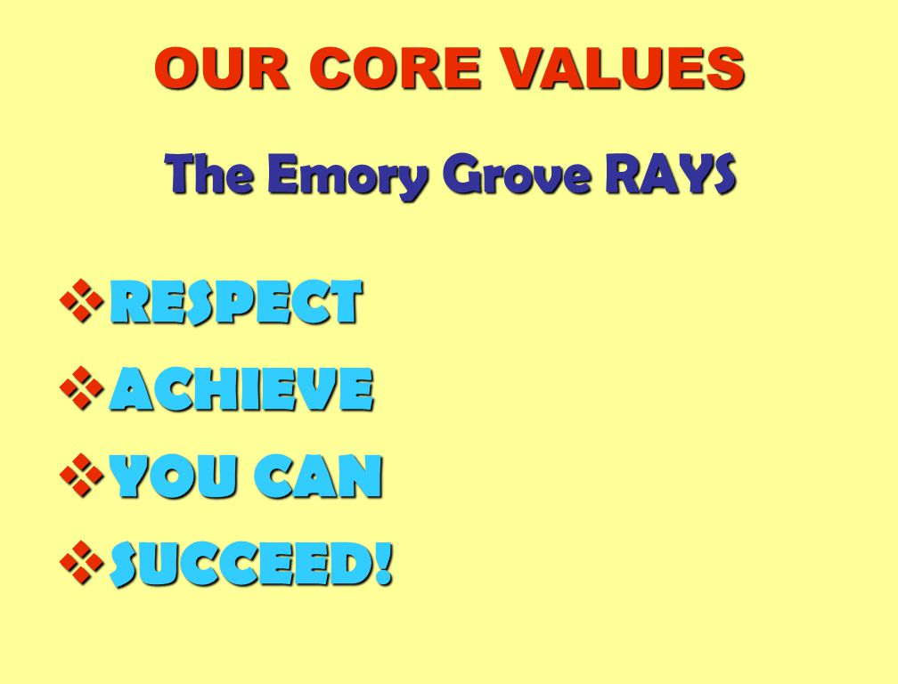 The Emory Grove RAYS  RESPECT  ACHIEVE  YOU CAN  SUCCEED! OUR CORE VALUES