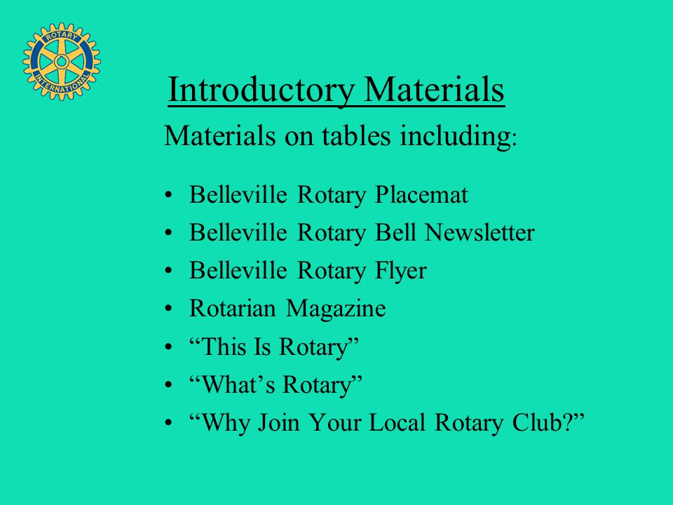 Four Avenues of Service Introductory Materials Belleville Rotary Placemat Belleville Rotary Bell Newsletter Belleville Rotary Flyer Rotarian Magazine
