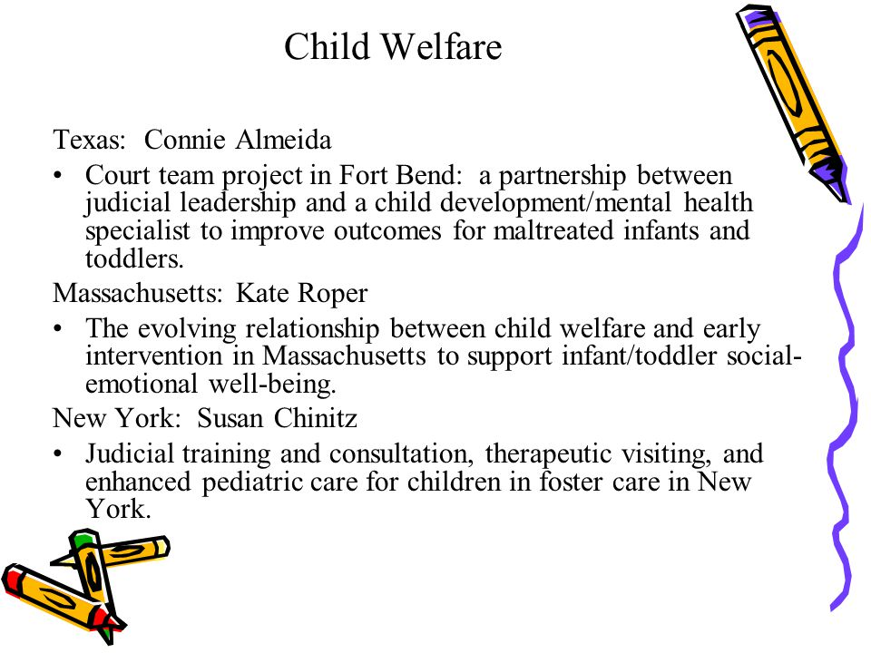 Child Welfare Texas: Connie Almeida Court team project in Fort Bend: a partnership between judicial leadership and a child development/mental health s