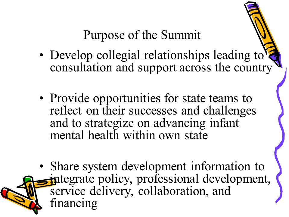 Content of First Summit Eleven states with mixed discipline teams from both the public and private sector and one parent representative Ten knotty questions presented with two different answers regarding financing, policy, training, service delivery, and system collaboration State sharing strategies to overcome barriers