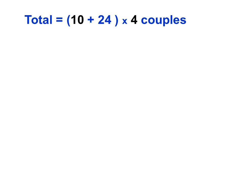 Total = (10 + 24 ) x 4 couples