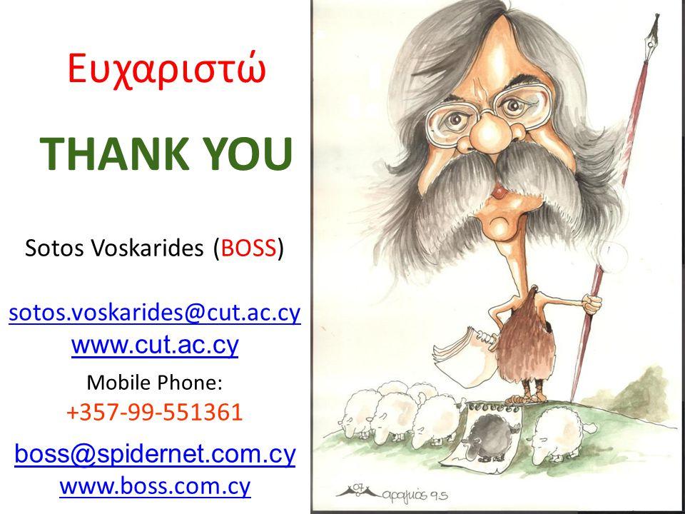 Ευχαριστώ THANK YOU Sotos Voskarides (BOSS) sotos.voskarides@cut.ac.cy www.cut.ac.cy Mobile Phone: +357-99-551361 boss@spidernet.com.cy www.boss.com.cy