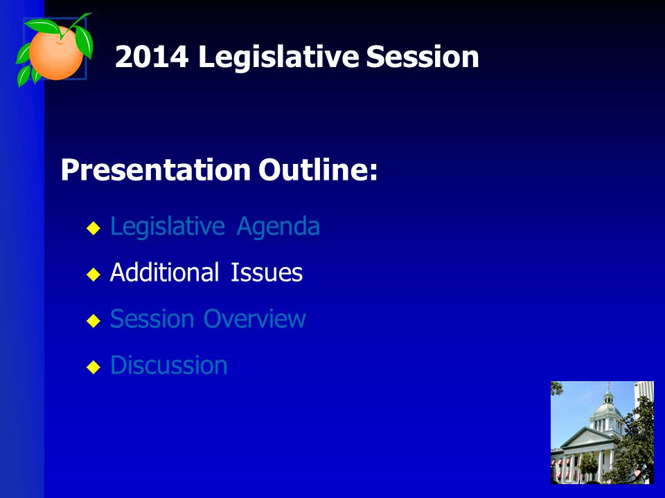 Presentation Outline:  Legislative Agenda  Additional Issues  Session Overview  Discussion 2014 Legislative Session
