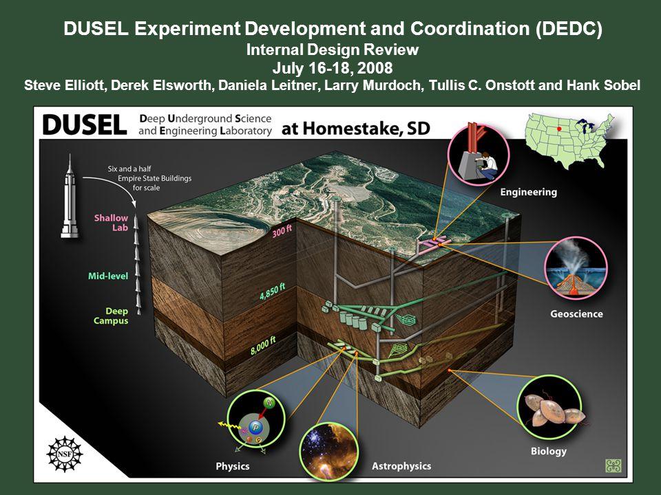 DUSEL Experiment Development and Coordination (DEDC) Internal Design Review July 16-18, 2008 Steve Elliott, Derek Elsworth, Daniela Leitner, Larry Murdoch, Tullis C.