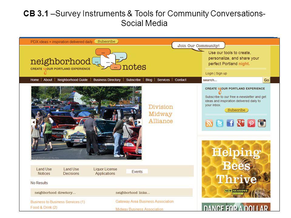 CB 3.1 –Survey Instruments & Tools for Community Conversations- Social Media